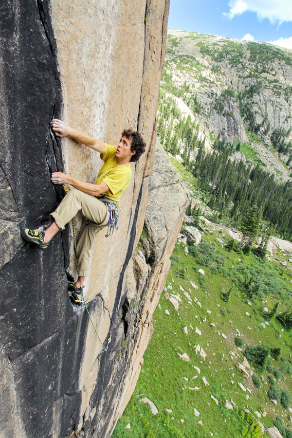 David Fay getting into the crux of Amba 5.12 Photo Credit by Justin Talbot
