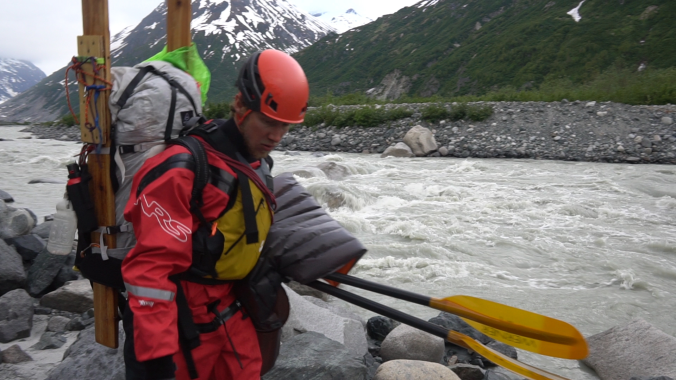 Drew Thayer arives at the headwaters of the Tlikakila River.