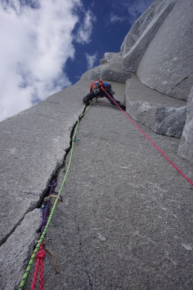 Craig Muderlak heading into the unknown. (Red Dihedral 5.11- Grade IV FA)